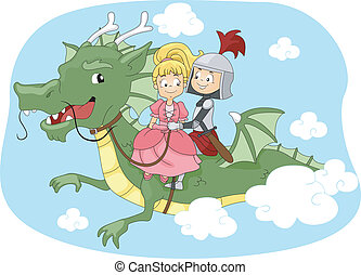 Dragon Ride - Illustration of a Knight and Princess Riding a...