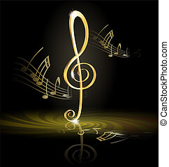 treble clef - on an abstract dark background is big golden...