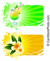 Vector frames with cocktail and tropical flowers