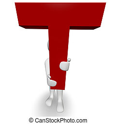 3D Human charcter holding red letter T, 3d render, isolated...
