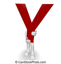 3D Human charcter holding red letter Y, 3d render, isolated...