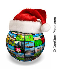 Christmas concept - photo globe in Santa hat