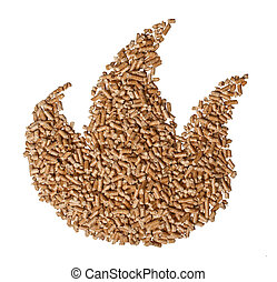 flame wood pellet - wood pellet flame on white background