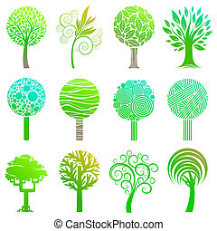 Vecrot set of trees emblem and logos - Vecrot set of trees...