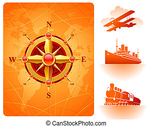Golden compass rose on a world map background and retro transport