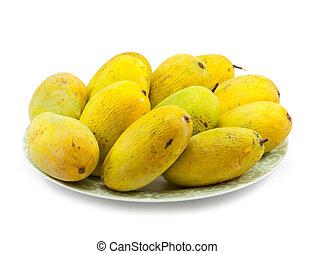 Ripe mangoe on white background