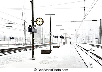 train station platform in snow