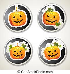 Halloween pumpkins - Labels with Halloween pumpkins
