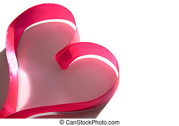 Pink love - Form of heart made up of pink ribbon over white...