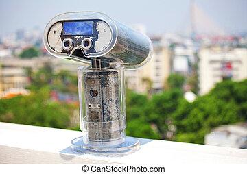 Binoculars overlooking