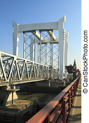 Railway bridge crossing in Dordrecht The Netherlands