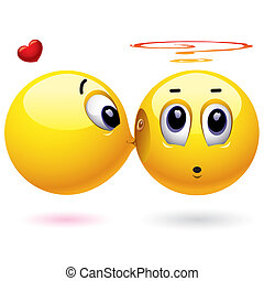 Smileys - Smiling balls kissing - Smiling ball kissing...