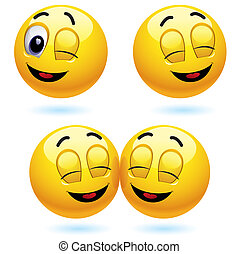 Smileys - Smiling ball winking and blinking