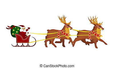 Santa Claus greets with sleight and reindeer