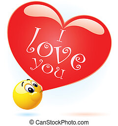 Smiley - Smiling ball blowing I love you balloon