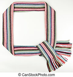 Funny christmass frame made of warm scarf