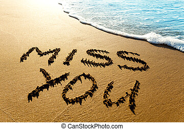 "Miss you - Dramatic inscription ""Miss You"" on wet golden..."