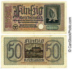 50 Reishsmark - Vintage former German collectible banknote -...