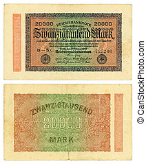 20000 Reishsmark 1923 - Vintage former German collectible...
