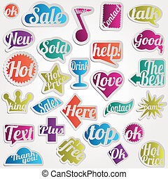 Set bubble vector sticker with text