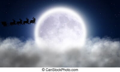 Santa over clouds
