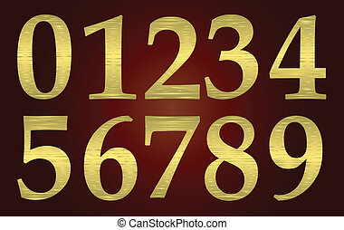 Set of golden metal numbers on a maroon plate. vector
