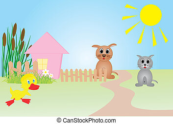Farm vector illustration, all characters are on separate...