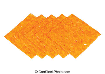 Slices of marble cheese on white background