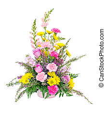 Colorful fresh flower arrangement centerpiece with daisies,...