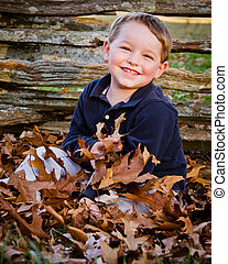 Fall portrait of boy - Fall or autumn portrait of young,...