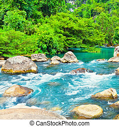 Stream - Blue water stream. Phong Nha - Ke Bang National...