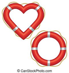 Lifebuoy heart - Two red lifebuoys, one in the shape of a...