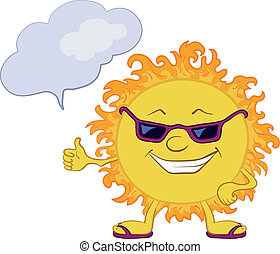 Sun smiley with glasses - Smiling sun with black glasses and...