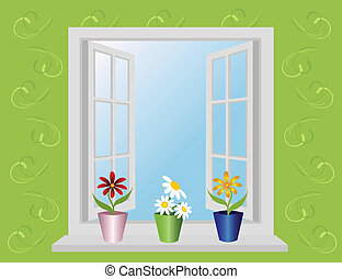 open window with flowers. Vector.