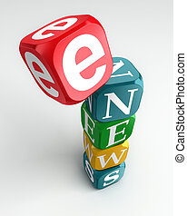 e news sign 3d colorful box tower