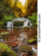 Waterfall flowing through Autumn Fall forest landscape -...