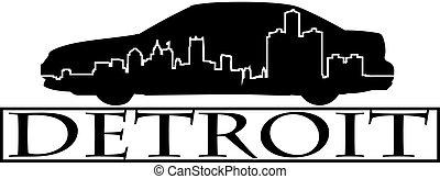 Detroit car - City of Detroit high-rise buildings skyline.