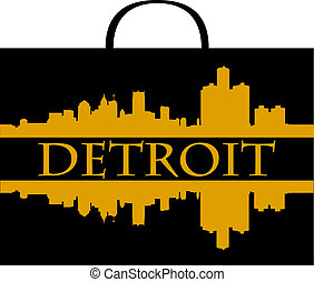 Detroit shopping - City of Detroit high-rise buildings...