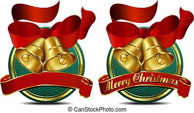 Christmas Bells Green Web Banner - Merry Christmas Bells...