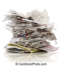 More Bills - Huge stack of receipts on a white background