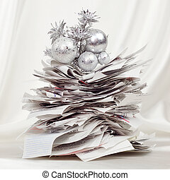 Oh Christmas Bills - Stack of receipts form a festive...