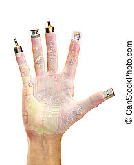 hand with computer terminals at Your Fingertips