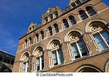 liverpool - detail of london's liverpool station, exterior...