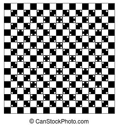 illusion of volume in black and white squares