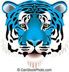 blue tiger head - vector illustration of blue tiger head