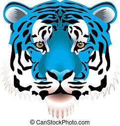 blue tiger head - vector illustration of blue tiger head