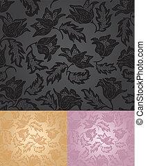 Set floral pattern background patte