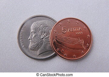 Two coins - A 5 drachmas and 5 cents coins