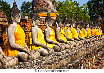 Buddha statues at the temple of Wat Yai Chai Mongkol in...