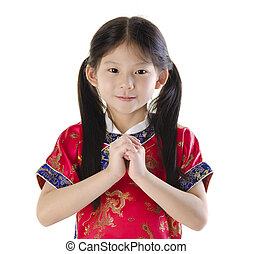 Happy Chinese New Year - Little oriental girl wishing you a...